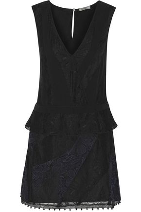 NINA RICCI Lace-paneled silk crepe de chine dress