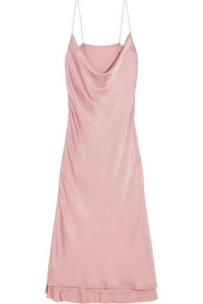 PROTAGONIST Draped hammered-charmeuse dress