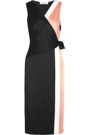 DIANE VON FURSTENBERG Color-block crepe de chine wrap dress