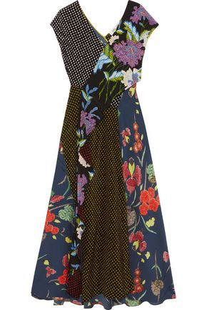DIANE VON FURSTENBERG Printed ruffled silk crepe de chine wrap dress