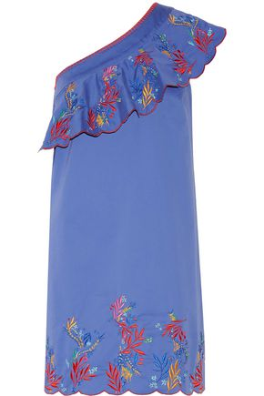 SALONI Esme one-shoulder embroidered washed stretch-cotton mini dress