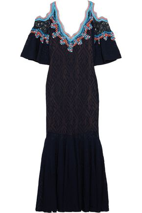 PETER PILOTTO Embroidered crochete-knit midi dress