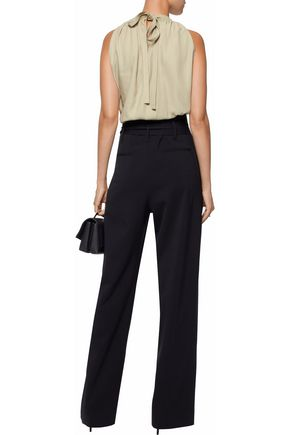 HELMUT LANG Bow-detailed gathered twill top