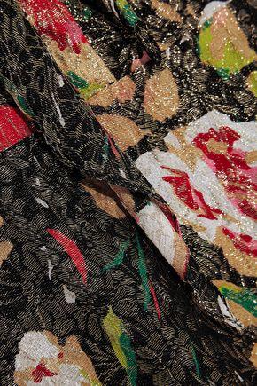 SAINT LAURENT Floral-print lamé midi dress