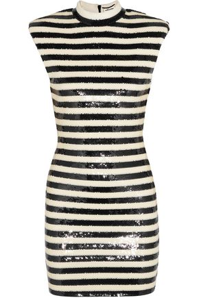 SAINT LAURENT Striped sequined satin mini dress