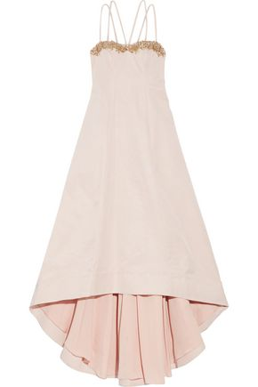 MARCHESA NOTTE Asymmetric embellished cotton and silk-blend twill gown