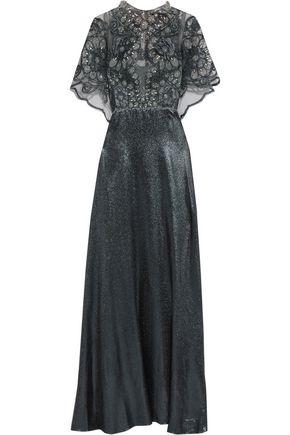 BIYAN Ilya embellished stretch-tulle and Lurex maxi dress