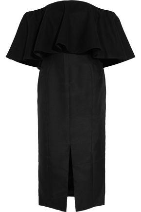 PAPER London Gina ruffled off-the-shoulder duchesse-satin dress