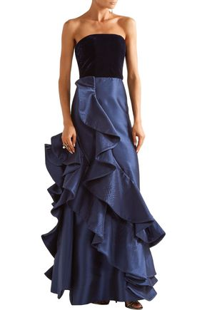 JOHANNA ORTIZ Grace Kelly ruffled taffeta and velvet gown