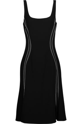 ALTUZARRA Sophia silk satin-trimmed embroidered stretch-crepe dress
