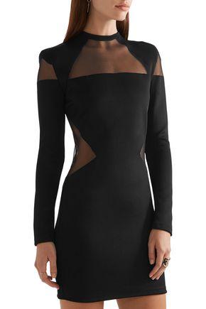 BALMAIN Tulle-paneled stretch-jersey mini dress