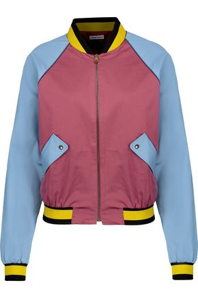 TOMAS MAIER Color-block cotton-blend bomber jacket