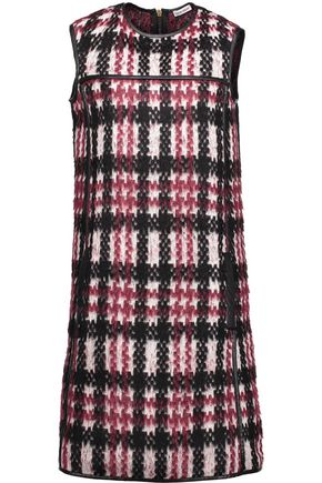 TOMAS MAIER Faux leather-trimmed brushed jacquard-knit dress
