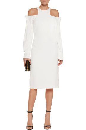 DION LEE Cold-shoulder ruched crepe dress