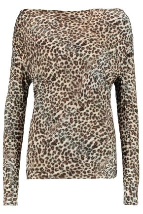 MAJESTIC Leopard-print stretch-jersey top