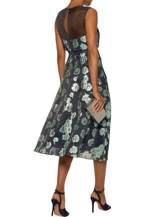 LELA ROSE Tulle-paneled pleated metallic fil coupé midi dress