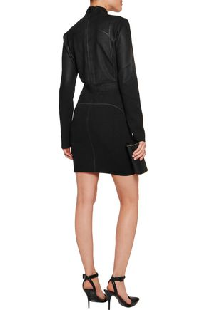 JUST CAVALLI Coated jacquard-knit and ribbed-knit mini dress