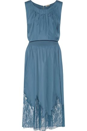 NINA RICCI Pleated lace-paneled cotton-poplin midi dress