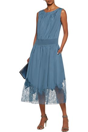 NINA RICCI Pleated lace-paneled cotton-poplin midi dress