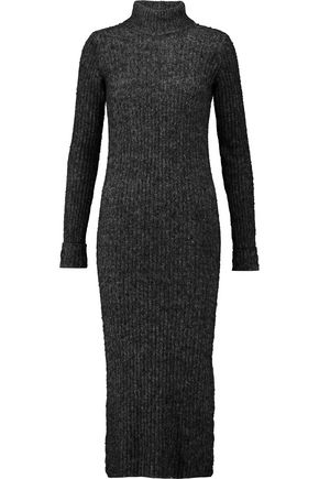 GANNI Ribbed-knit turtleneck midi dress