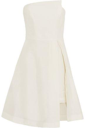 HALSTON HERITAGE Strapless cutout jacquard dress