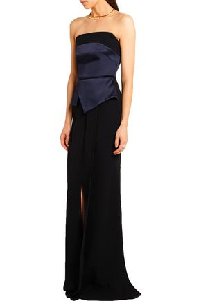 ROLAND MOURET Devey layered satin and crepe gown