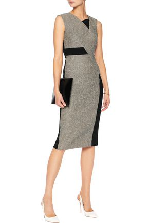 ROLAND MOURET Chesson paneled bouclé and stretch-crepe dress