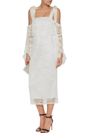 REBECCA VALLANCE Pulitzer cutout plissé-lace dress
