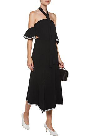 REBECCA VALLANCE Courtside off-the-shoulder open-back crepe halterneck midi dress