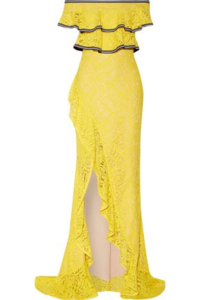 REBECCA VALLANCE Wilson off-the-shoulder ruffled corded lace gown