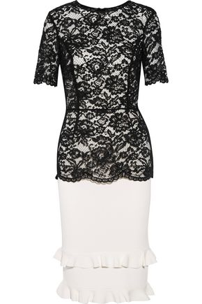 SACHIN & BABI Petal guipure lace and ribbed stretch-knit dress