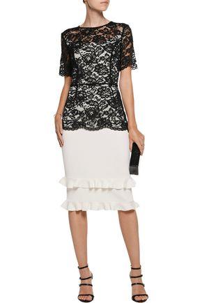 SACHIN & BABI Petal guipure lace and ribbed stretch-knit dress