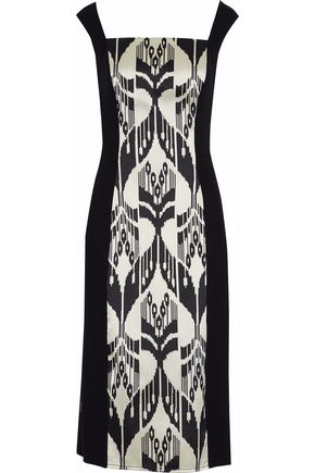 OSCAR DE LA RENTA Printed paneled satin and crepe midi dress