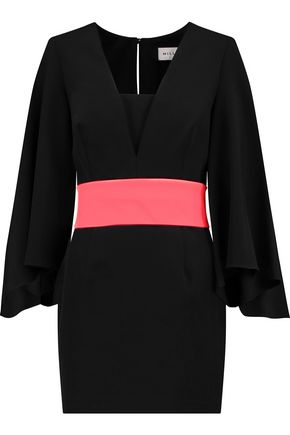 MILLY Belted crepe mini dress