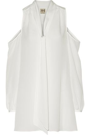 HAUTE HIPPIE Pussy-bow cold-shoulder chiffon mini dress