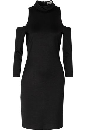 L'AGENCE Nico cold-shoulder stretch-cady turtleneck dress