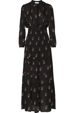 A.L.C. Cosimo tassel-trimmed printed silk maxi dress