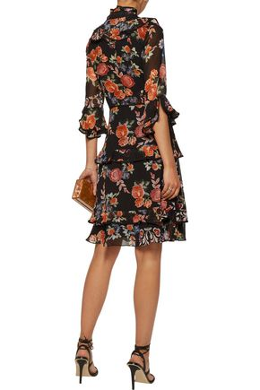 MIKAEL AGHAL Pussy-bow ruffle-trimmed floral-print chiffon dress