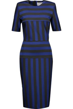 DION LEE Striped stretch-cady midi dress