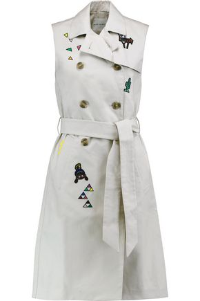 MIRA MIKATI Appliquéd embroidered cotton-poplin trench coat