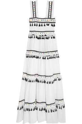 DODO BAR Or Tiered embellished embroidered cotton-gauze maxi dress
