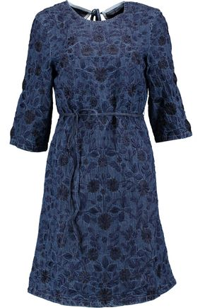 NEEDLE & THREAD Wild Meadow embroidered denim mini dress