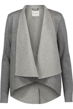 HALSTON HERITAGE Ribbed wool-paneled wool-blend felt jacket