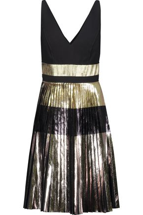 PROENZA SCHOULER Metallic plissé-crepe mini dress