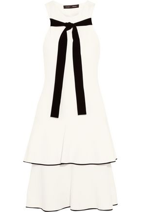 PROENZA SCHOULER Velvet-trimmed tiered crepe dress
