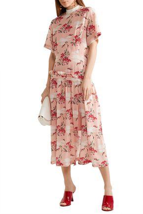 MOTHER OF PEARL Twilla pleated printed silk-chiffon midi dress
