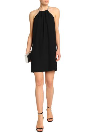 HALSTON HERITAGE Embellished cutout crepe mini dress