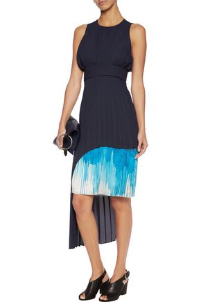 CHALAYAN Asymmetric printed silk-paneled pleated crepe dress