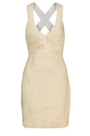 PIERRE BALMAIN Metallic knitted mini dress