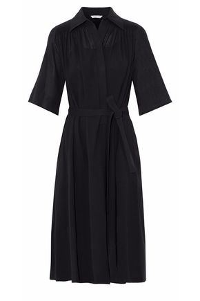 HELMUT LANG Belted flared cotton-broadcloth dress